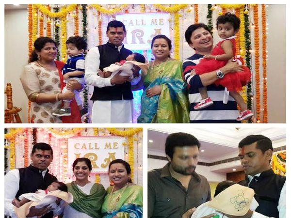 छायाचित्रे - (वर) सिद्धार्थ आणि तृप्ती जाधवसह अभिनेता अनिकेत केळकर आणि त्यांची मुले, खाली डावीकडे - सिद्धार्थ आणि तृप्ती जाधव अभिेनेत्री आदिती सारंगधरसोबत, उजवीकडे - मुलगी इरा आणि अंकुश चौधरीसोबत सिद्धार्थ जाधव. - Divya Marathi