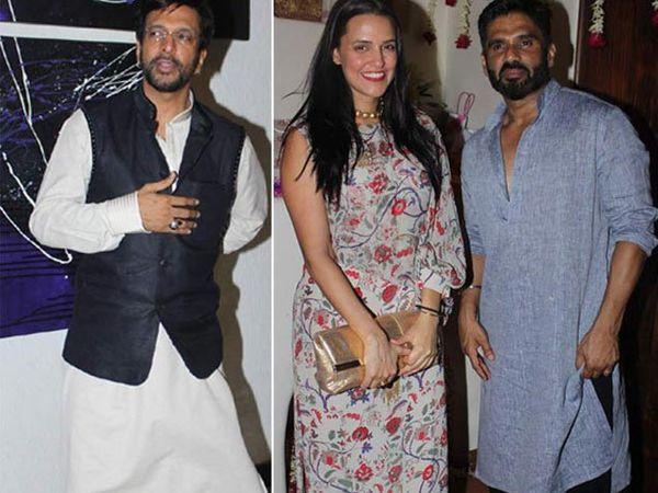 डावीकडून - जावेद जाफरी, नेहा धुपिया आणि सुनील शेट्टी - Divya Marathi