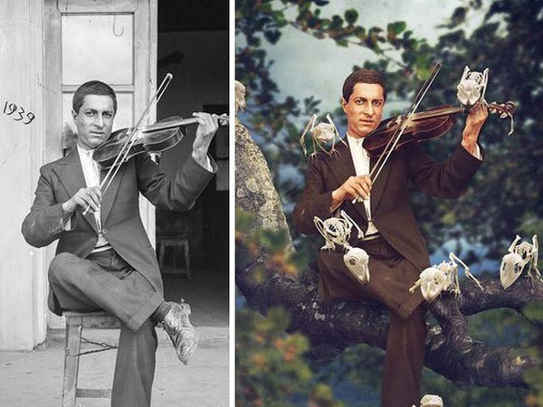 ऑस्ट्रेलियाच्या फोटोग्राफरने जुन्या छायाचित्रांना असे नवीन रुप दिले. - Divya Marathi