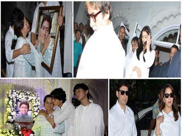 फोटोः डावीकडे (वर) - आदेश यांच्या पत्नी विजेता यांना अश्रु अनावर झाले. (खाली) - शोकाकुल आदेश यांच्या पत्नी आणि दोन्ही मुले. शोकसभेत पोहोचलेले अमिताभ बच्चन आणि ऐश्वर्या राय बच्चन (उजवीकडे वर), डॉ. श्रीराम नेने आणि माधुरी दीक्षित (उजवीकडे खाली) - Divya Marathi