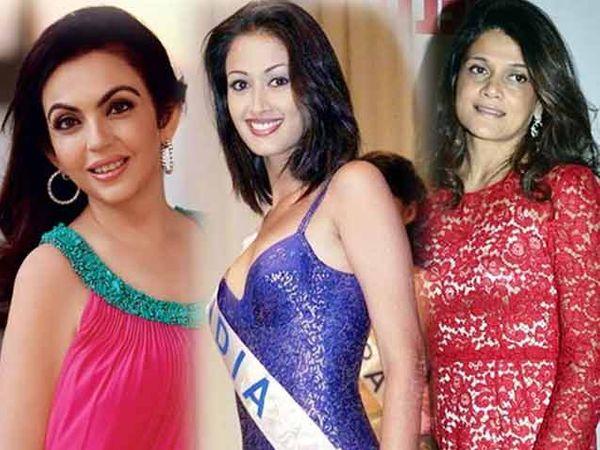 डावीकडून नीता अंबानी, मध्यभागी  गायत्री जोशी आणि उडवीकडून नीरजा बिर्ला - Divya Marathi