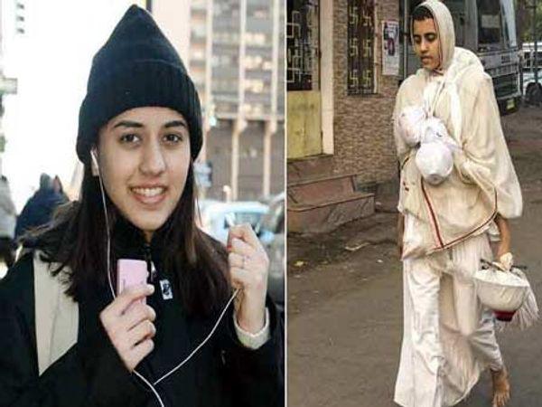 डावीकडे अमेरिकेत असतानाचा निशाचा फोटो. उजवीकडे साध्वी बनल्यानंतरचे जीवन जगतानाचा फोटो. - Divya Marathi