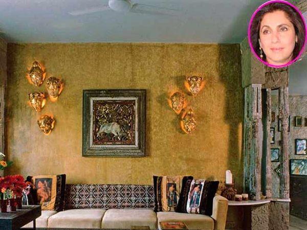 मुंबईमधील डिंपल यांचे घर \'वास्तु\' अपार्टमेंटचे लिव्हिग स्पेस - Divya Marathi