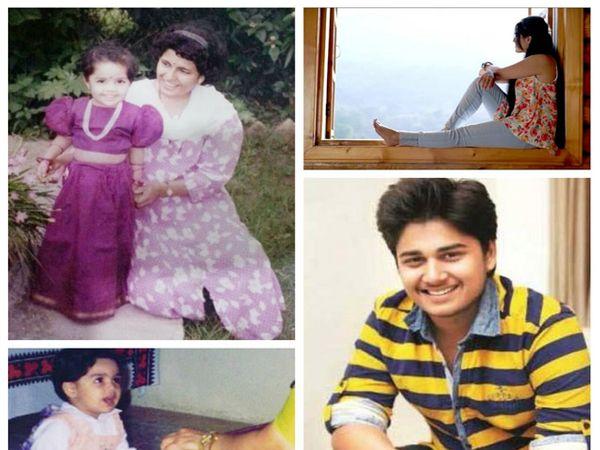 आईसोबत दिसणारी ही चिमुकली आहे आर्या आंबेकर, उजवीकडे - खाली दिसणारा हा मुलगा आहे लक्ष्मीकांत आणि प्रिया बेर्डेंचा मुलगा अभिनय बेर्डे आहे. - Divya Marathi