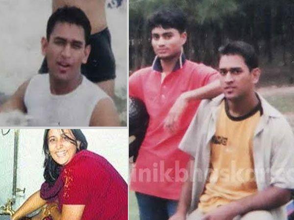 बहिणीसोबत मस्ती करताना धोनी (डावीकडे खाली) - Divya Marathi