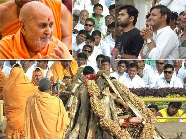 सांरगपूर येथील स्वामी नारायण पंथाच्या प्रमुख मंदिर आवारात प्रमुख स्वामी महाराज यांच्या पार्थिवावर अंत्यसंस्कार करण्यात आले. - Divya Marathi
