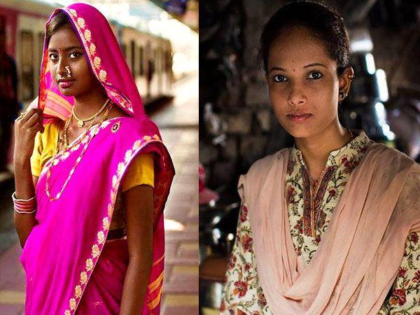 मुंबईमध्ये लोकल ट्रेनची वाट पाहात असलेली एक मराठी मुलगी आणि दुसऱ्या फोटोत निर्वासित कँपमधील एक तरुणी. - Divya Marathi