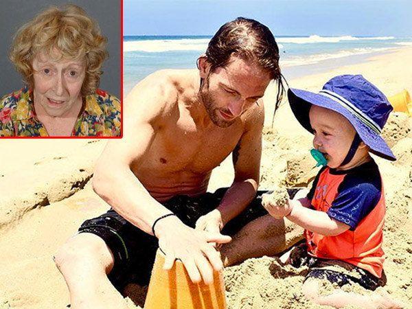 पिता मार्कससोबत खेळताना 15 महिन्याचा लियाम. लियामचा हा फोटो 16 जुलै, 2016 रोजीचा आहे. इन्सेटमध्ये टक्कर मारणारी दारूडी आजी. - Divya Marathi