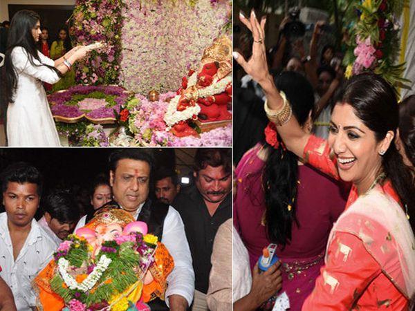 आरती करताना एलिजा अग्निहोत्री, बाप्पाला विसर्जनासाठी घेऊन जाताना गोविंदा आणि ताल धरताना शिल्पा... - Divya Marathi