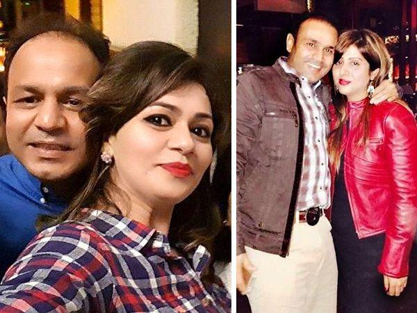 फोटोत (उजवीकडे) वीरेंद्र सेहवाग आणि त्याची पत्नी आरती. तर (डावीकडे) विनोद सेहवाग आणि त्याची पत्नी मीनाक्षी.... - Divya Marathi