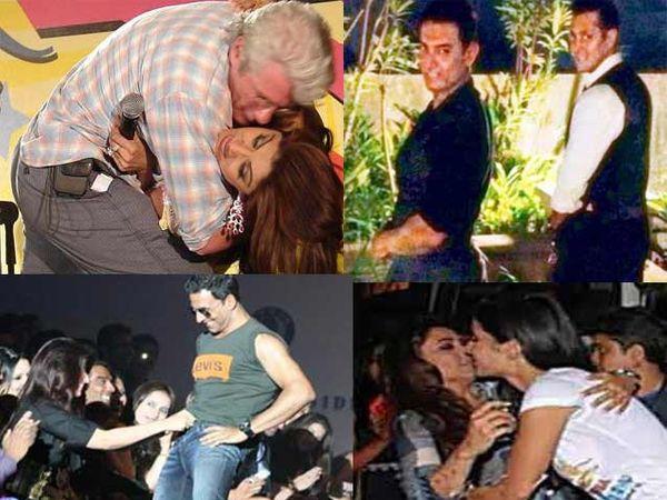 फाइल फोटोः डावीकडे (वर) -रिचर्ड गेर आणि शिल्पा शेट्टी, (खाली) - ट्विंकल खन्ना आणि अक्षय कुमार, उजवीकडे (वर) - आमिर खान आणि सलमान खान, (खाली) राणी मुखर्जी आणि कतरिना कैफ - Divya Marathi