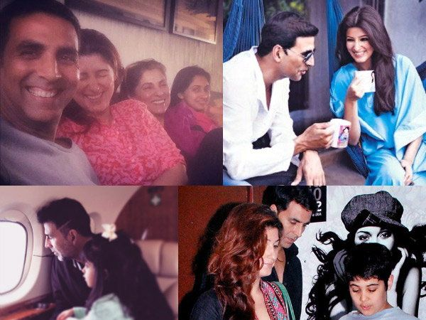 ट्विंकल खन्ना, डिम्पल कपाडिया, मुलगी नितारा आणि मुलगा आरवसह अक्षय कुमार. - Divya Marathi