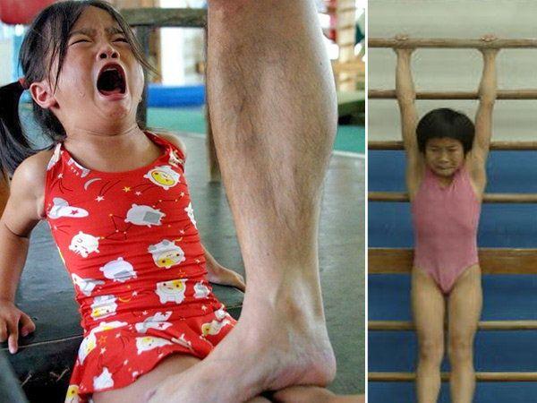 चीनमधील लहान मुलांना असे ट्रेनिंग दिले जाते. याचमुळे चीनमध्ये चॅम्पियन खेळाडू तयार होतात व ऑलिंपिकमध्ये ते कायम पहिल्या 5 मध्ये राहतात. - Divya Marathi