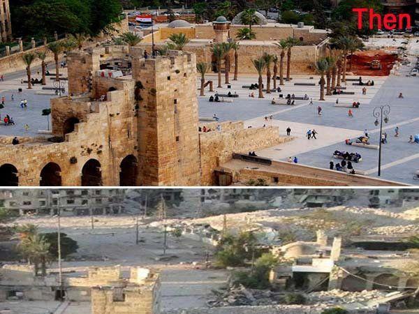 सीरियातील अलेप्पो शहर... पूर्वी असे होते आणि आता असे उद्धवस्त झाले आहे. - Divya Marathi