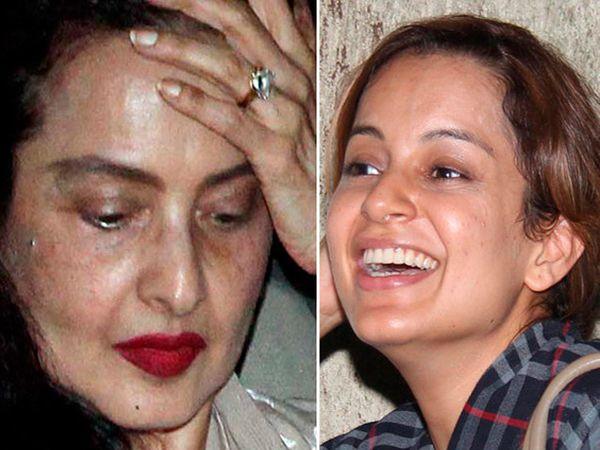 अभिनेत्री रेखा आणि अभिनेत्री कंगना रनोट - Divya Marathi