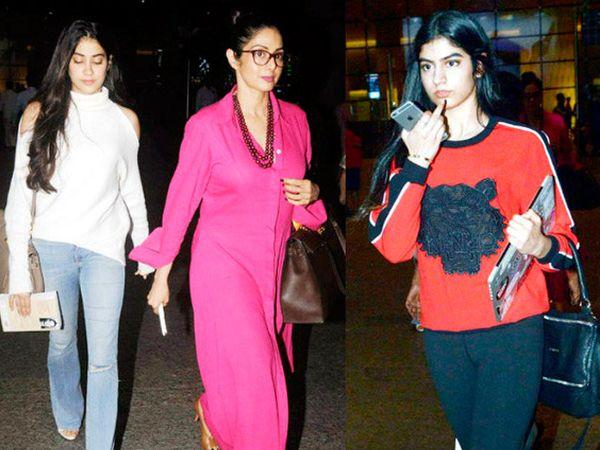 जान्हवी कपूर, श्रीदेवी आणि खुशी कपूर - Divya Marathi