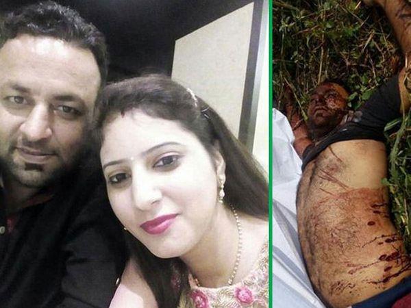 पत्नीबरोबर वरुण दुसऱ्या फोटोत हत्येनंतर अशाप्रकारे शेतात सापडला होता मृतदेह. - Divya Marathi