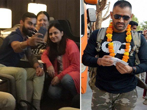 एयरपोर्टवर फॅन्ससमवेत सेल्फी घेताना विराट, हॉटेलमध्ये पोहचताच असे झाले कर्णधार महेंद्रसिंग धोनीचे स्वागत.... - Divya Marathi