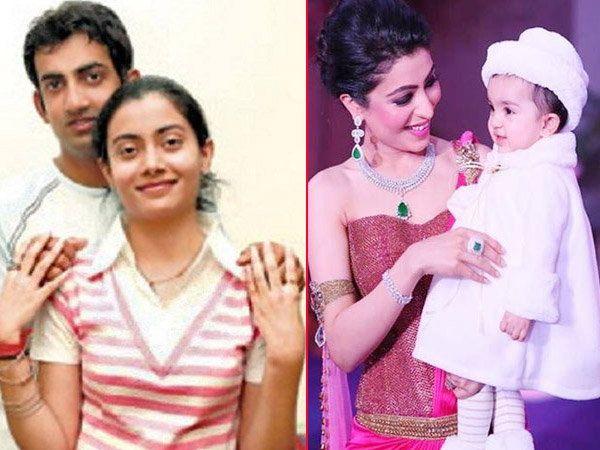बहिण एकतासह गौतम गंभीर (डावीकडे) गंभीरची पत्नी नताशा (उजवीकडे) - Divya Marathi
