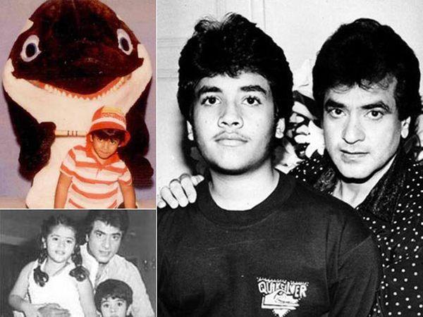 वडील जितेंद्र आणि थोरली बहीण एकतासोबत तुषार कपूर - Divya Marathi