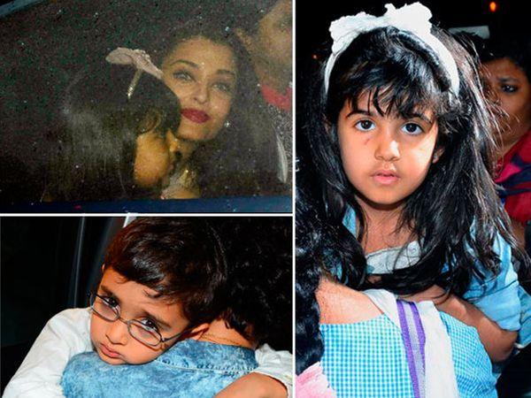 डावीकडे वर - ऐश्वर्या आणि आराध्या, खाली - मुलगा आजादसोबत किरण राव, उजवीकडे - अक्षय कुमारची मुलगी नितारा कुमार - Divya Marathi