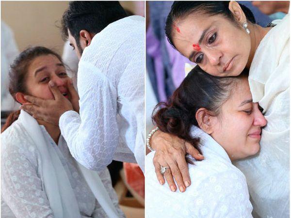 मुकेश रावल यांची थोरली मुलगी विप्रा रावलचे सांत्वन करताना नातेवाईक. - Divya Marathi