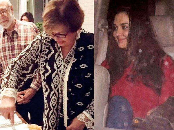 केक कापताना हेलन, उजवीकडे - अभिनेत्री प्रीती झिंटा - Divya Marathi