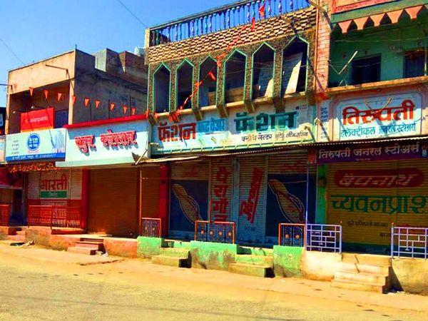 परतूरमध्ये सोमवारी सकाळी बहूुतांश दुकाने बंद असल्याची परिस्थिती पाहायला मिळाली. - Divya Marathi