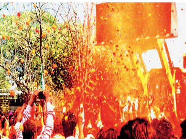उमरग्यात भाजपचे अॅड. अभयराजे चालुक्य यांच्या मिरवणुकीत जेसीबीने गुलाल उधळला. - Divya Marathi