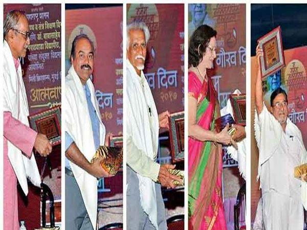 दिलीप घारे, अनुया दळवी, चित्रकार मुरली लाहोटी, अनंत नेरळकर आणि प्रा. मधू जामकर यांचाही सत्कार करण्यात आला. - Divya Marathi