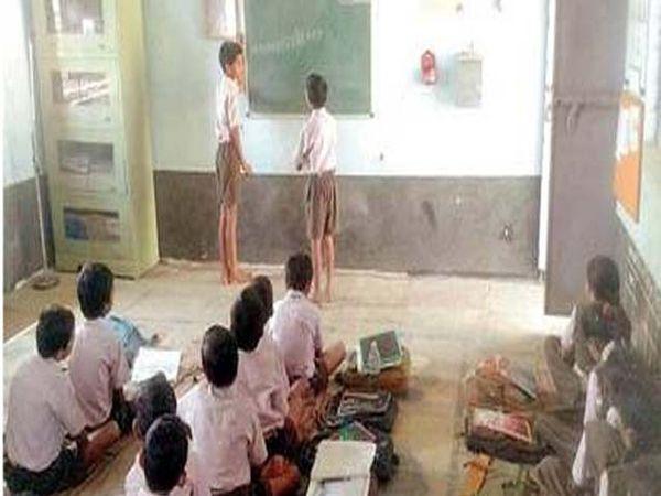 संख्या वाचन करताना चिंचखेड येथील जि. प. शाळेचे विद्यार्थी. - Divya Marathi