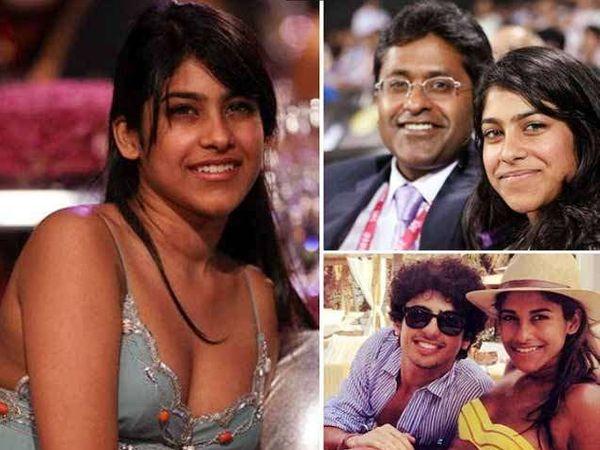 डावीकडे ललित मोदींची मुलगी अलिया, उजवीकडे स्वत ललित मोदी व खाली मुलगा रूचिर मोदी... - Divya Marathi