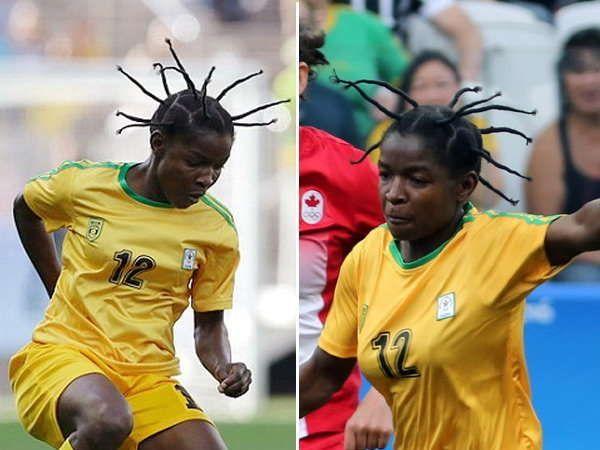 झिंम्बाब्वेचा फुटबॉलर मारजोरी आपल्या अजब-गजब हेयर स्टाईलमुळे गेल्या वर्षी ऑलिपिंकमध्ये चमकला होता. - Divya Marathi
