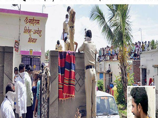 नवीन विडी घरकुल येथील विनोदा संदूपटला हिच्या घरचे अंगण खोदून तीन दिवसांपूर्वी पुरलेला मृतदेह काढण्यात आला. - Divya Marathi