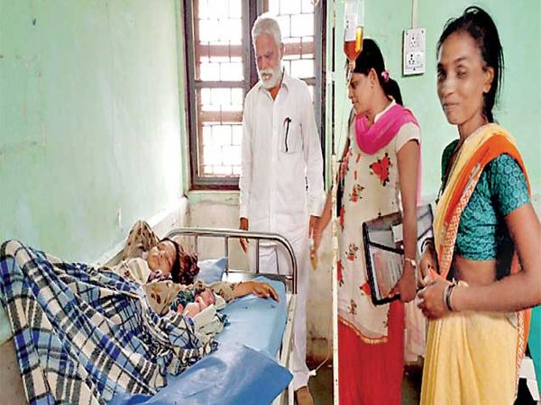 लाडगाव येथे प्रसूत झालेल्या महिलेची चौकशी करताना आरोग्य देखरेख समितीचे पदाधिकारी. - Divya Marathi