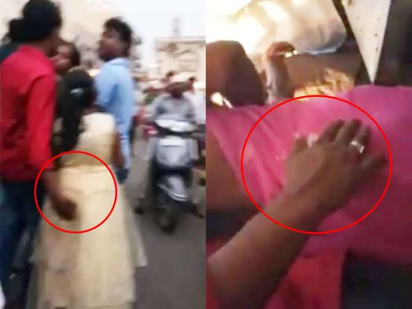 दोन्ही फोटोत लाल शर्ट घातलेला एक युवक मुलीला आणि महिलेला चुकीचा स्पर्श करताना दिसत आहे. - Divya Marathi