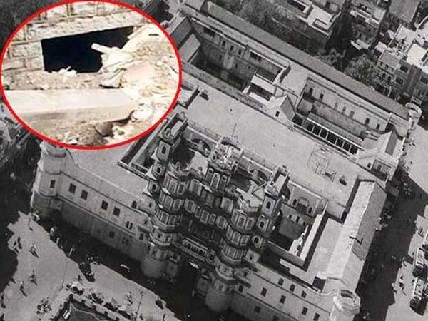 गोपाळ मंदिरापासून राजवाड्यापर्यंत रहस्यमयी गुहा आढळली आहे. इन्सेटमध्ये गुहा. - Divya Marathi