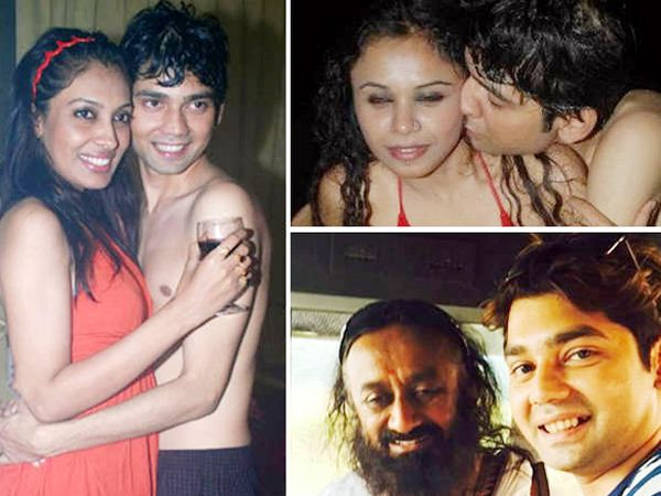 मित्रांबरोबर विवेक मिश्रा. खालच्या फोटोत श्रीश्री रवीशंकर यांच्याबरोबर विवेक. - Divya Marathi