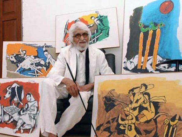 चित्रकार एमएफ हुसेन - Divya Marathi