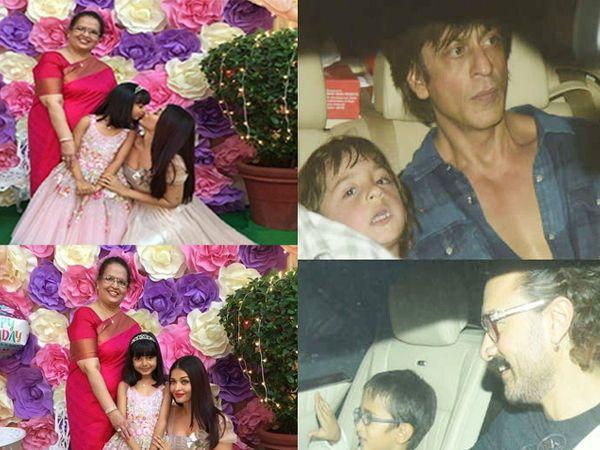 आई वृंदा राय आणि मुलगी आराध्यासोबत ऐश्वर्या, मुलगा अबरामसोबत शाहरुख खान, मुलगा आझादसोबत आमिर खान - Divya Marathi