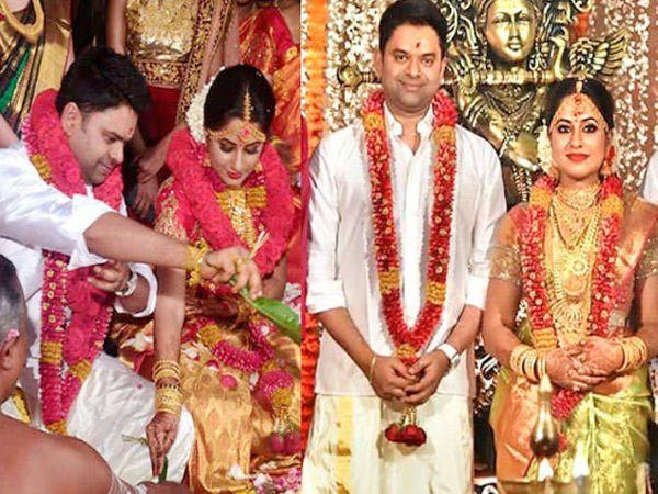 लग्नविधी पूर्ण करताना ज्योती कृष्णा आणि अरुण आनंद राजा - Divya Marathi