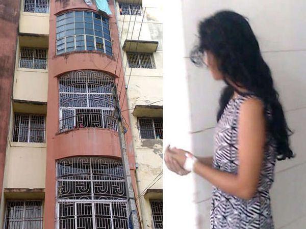 घटना घडलेली अपार्टमेंट आणि मेडीकल टेस्टनंतर रूग्णालयातून बाहेर पडताना तरूणी... - Divya Marathi