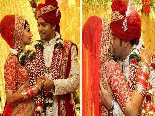 सौरभ पांडेने त्याची लाँगटाइमची गर्लफ्रेंड जारा सोनीसोबत 28 नोव्हेंबरला लग्न केले. लग्नानंतर सौरभने जाराला असे किस करुन दिल्या शुभेच्छा. - Divya Marathi