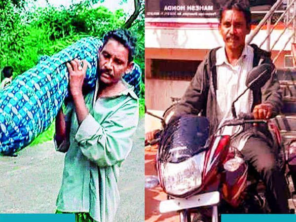24 ऑगस्ट 2016 रोजी ओडिशाच्या कालाहांडीमध्ये दाना मांझी यांना आपल्या पत्नीचा मृतदेह खांद्यावर घेऊन चालत जावे लागले होते. आता जगभरातील मदतीमुळे त्यांचे आयुष्य बदलले आहे. - Divya Marathi