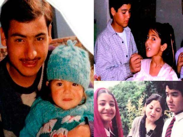 लहानपणी वडिलांसोबत अनुष्का, वरच्या फोटोत भावासोबत तर खालच्या फोटोमध्ये आई आणि भाऊ कर्णेशसोबत अनुष्का. - Divya Marathi