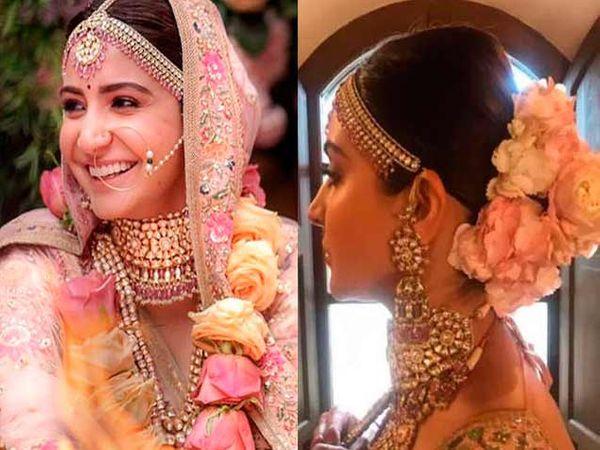 अनुष्का शर्माने विवाह सोहळ्यात डिझायनर सब्यसाचीन डिझाइन केलेला लहेंगा आणि ज्वेलरी घातली होती. - Divya Marathi