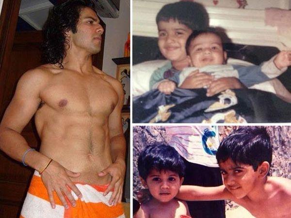 डावीकडे - वरुण धवन, उजवीकडे वर आणि खाली - भाऊ रोहितसोबत वरुण धवन - Divya Marathi