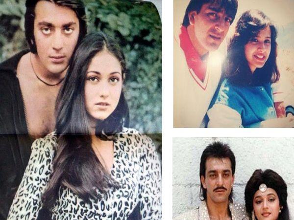 संजय दत्त एक्स-गर्लफ्रेंड टीना मुनीम, माधुरी दीक्षित (उजवीकडे खाली) आणि पहिली पत्नी ऋचा शर्मासोबत. - Divya Marathi