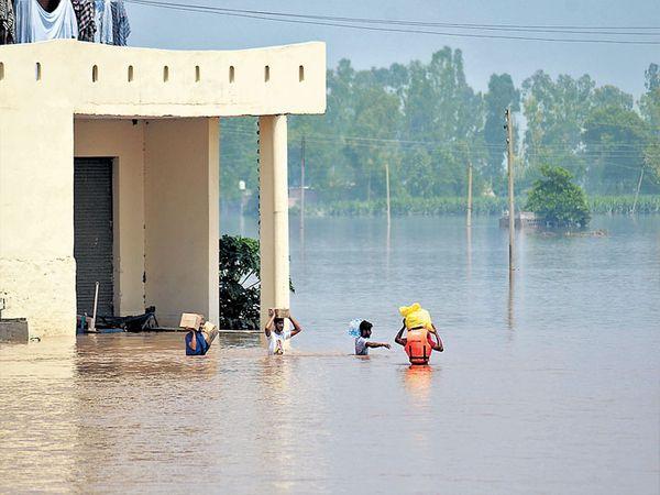 जालंधरमधील जानिया गाव पाण्यात बुडाले आहे. दैनंदिन वापराच्या वस्तू घेऊन जाताना लाेक. - Divya Marathi