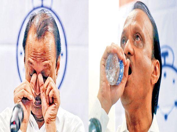 पत्रकार परिषदेत कंठ दाटून आल्यानंतर अजित पवार पाणी पिऊन शांत झाले. - Divya Marathi